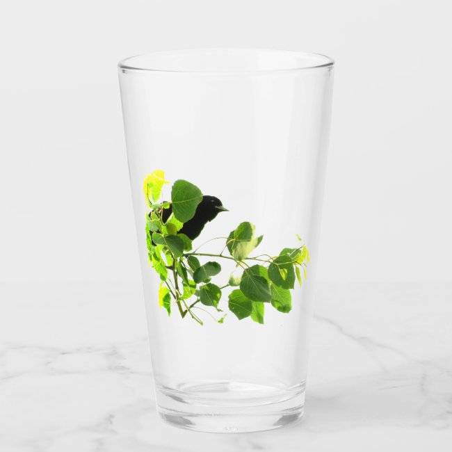 Green Leaves and Black Bird in Tree Glass Tumbler