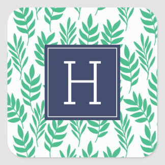 Green Leaves and Blue Monogram Square Sticker