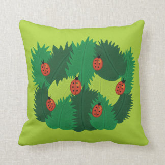 Green Leaves And Ladybugs In Spring Time Throw Pillow