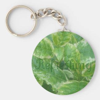 Green leaves basic round button keychain