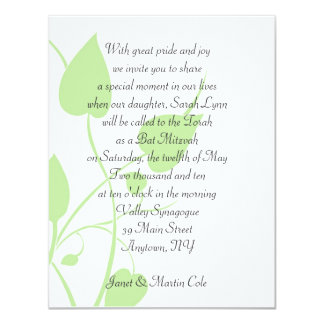 Green Leaves Bat Mitzvah 4.25x5.5 Paper Invitation Card