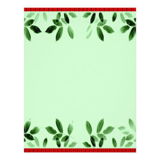 Green Leaves Border Christmas Stationery Customized Letterhead
