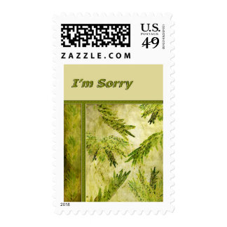 Green Leaves Botanical Sorry Stamps