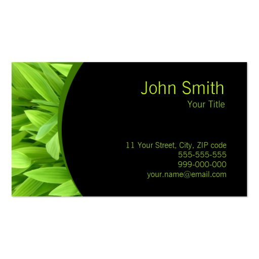 Green leaves business card zazzle for Leaf business cards
