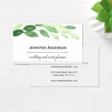 Wedding Themed Green Leaves Business Card