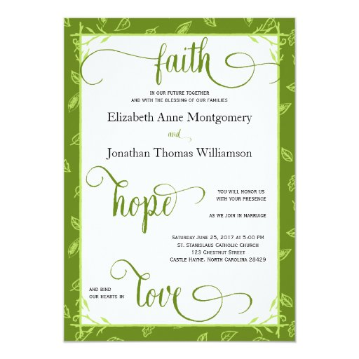Green Leaves Christian Wedding Card
