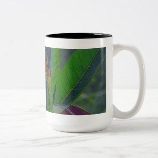 Green Leaves Close-Up Two-Tone Coffee Mug
