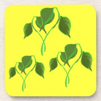 Green leaves Cork Coaster