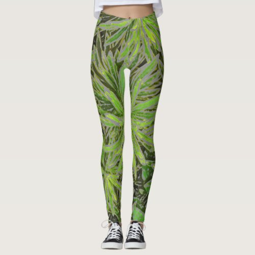 GREEN LEAVES DESIGN WITH DIGITAL EFFECTS LEGGINGS