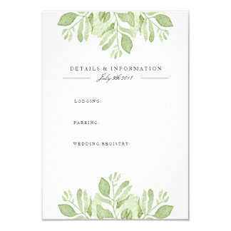 Green Leaves Duo   Watercolor Information Card