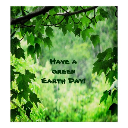 Green Leaves Earth Day Poster