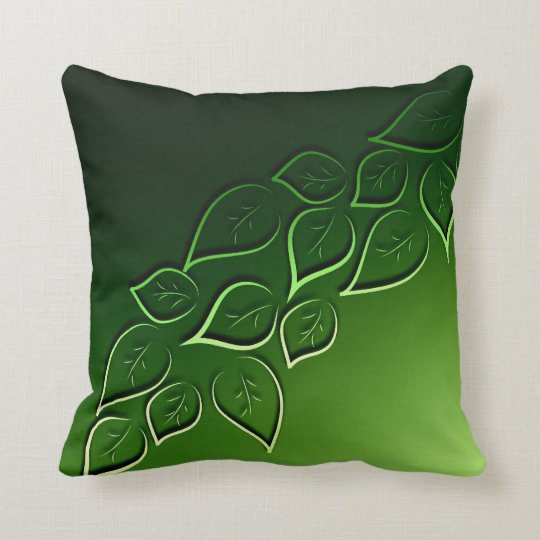 Sofa Pillows Contemporary: Green Leaves Elegant Modern Throw Pillow