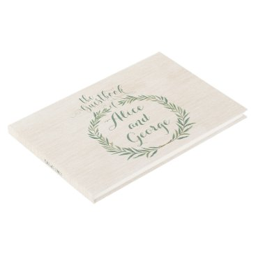 Beach Themed Green Leaves Eucalyptus Wedding Guestbook