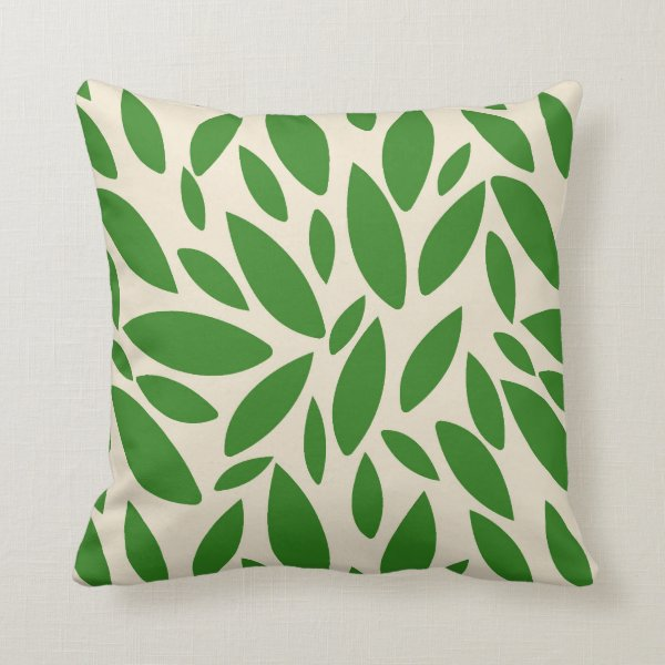 Green leaves falling throw pillow