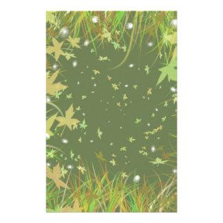 Green Leaves Fantasy Swirl Stationery