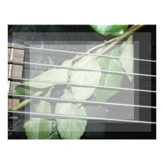 green leaves five string bass musical instrument custom letterhead