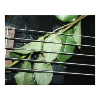 green leaves five string bass musical instrument letterhead template