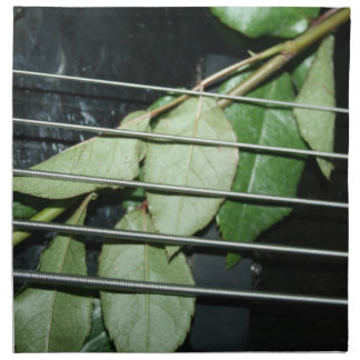 green leaves five string bass musical instrument napkin