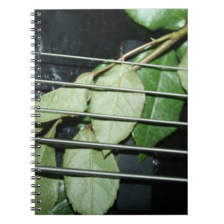 green leaves five string bass musical instrument notebook