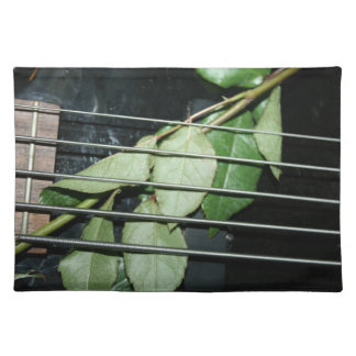green leaves five string bass musical instrument cloth placemat