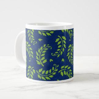 Green Leaves / Fronds on Blue Ground Jumbo Mug