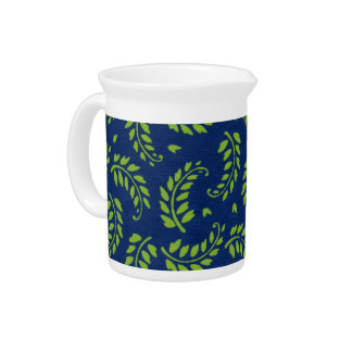 Green Leaves / Fronds on Blue Ground Pitcher