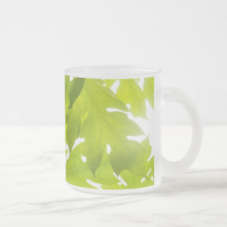 Green leaves frosted glass coffee mug