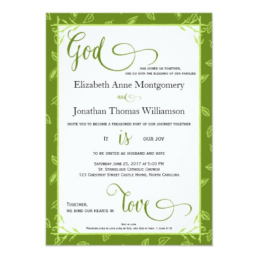 Green leaves god is love christian wedding card zazzle for Wedding cards god images