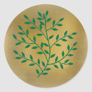 Green leaves green olive branch leaf decor classic round sticker
