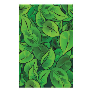 Green Leaves illustrated in comics style Stationery
