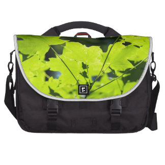 Green leaves in the woods computer bag