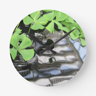 Green Leaves in Water Round Clock