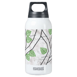green leaves insulated water bottle