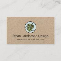 Green Leaves Landscape Designer Logo Kraft Business Card