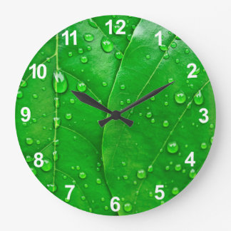 Green Leaves Large Clock