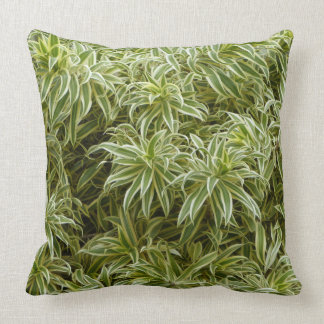"""""""GREEN LEAVES LINED WITH WHITE""""  THROW PILLOW"""
