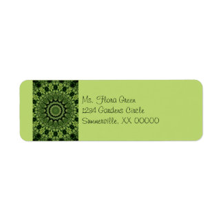 Green Leaves Mandala Label