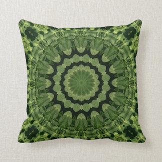 Green Leaves Mandala Throw Pillow