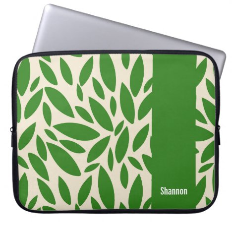 Green leaves Monogram Laptop Sleeve
