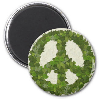 Green Leaves Of Peace 2 Inch Round Magnet