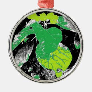Green Leaves on Black Metal Ornament