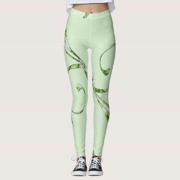 Green Leaves on Mint Green Leggings