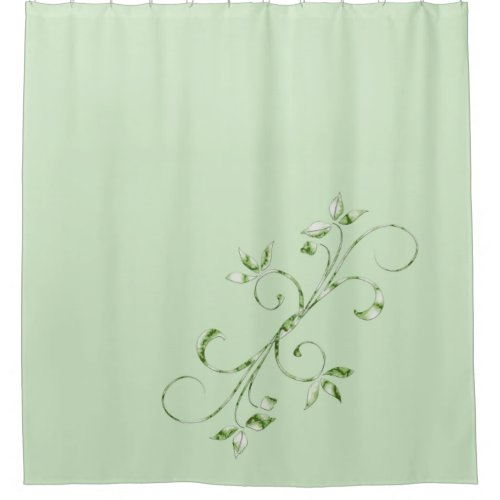 Green Leaves on Mint Green Shower Curtain