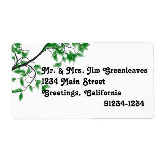 Green Leaves On Tree Return Address Labels