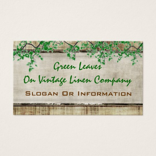 Green Leaves On Vintage Linen Business Cards