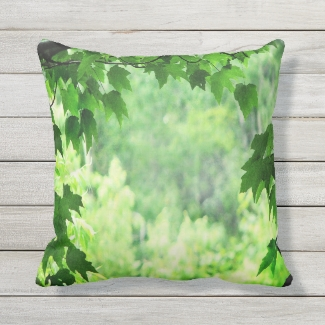 Green Leaves Outdoor Pillow