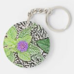 green leaves purple flower sketch keychains