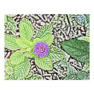 green leaves purple flower sketch customized letterhead