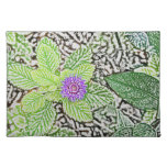 green leaves purple flower sketch place mat