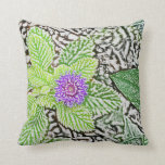 green leaves purple flower sketch throw pillow